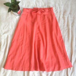 Vintage coral midi wrap skirt